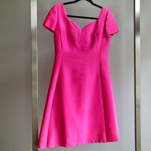 Adele Simpson 1960s VTG Mod Hot Pink Silk Dress